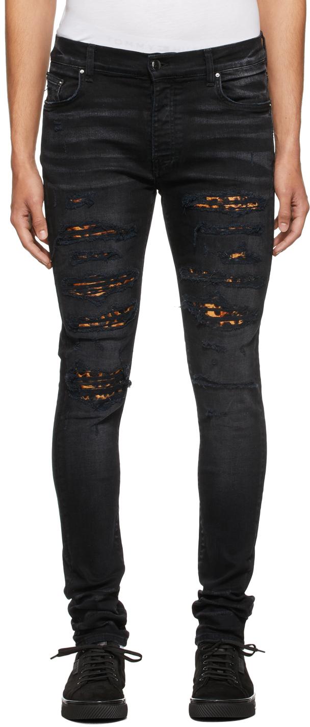 AMIRI Black Leopard Thrasher Jeans
