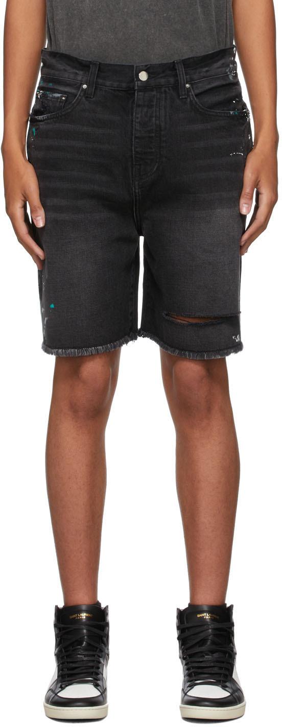 Black Denim Painter Bermuda Shorts