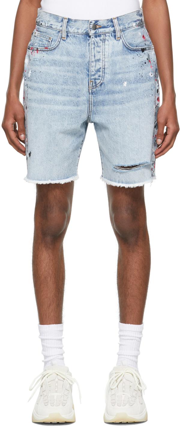 Blue Denim Painter Bermuda Shorts