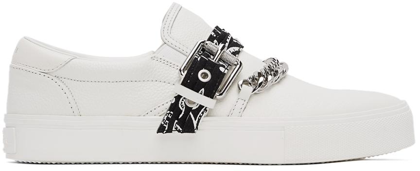 White Bandana Chain Slip-On Sneakers