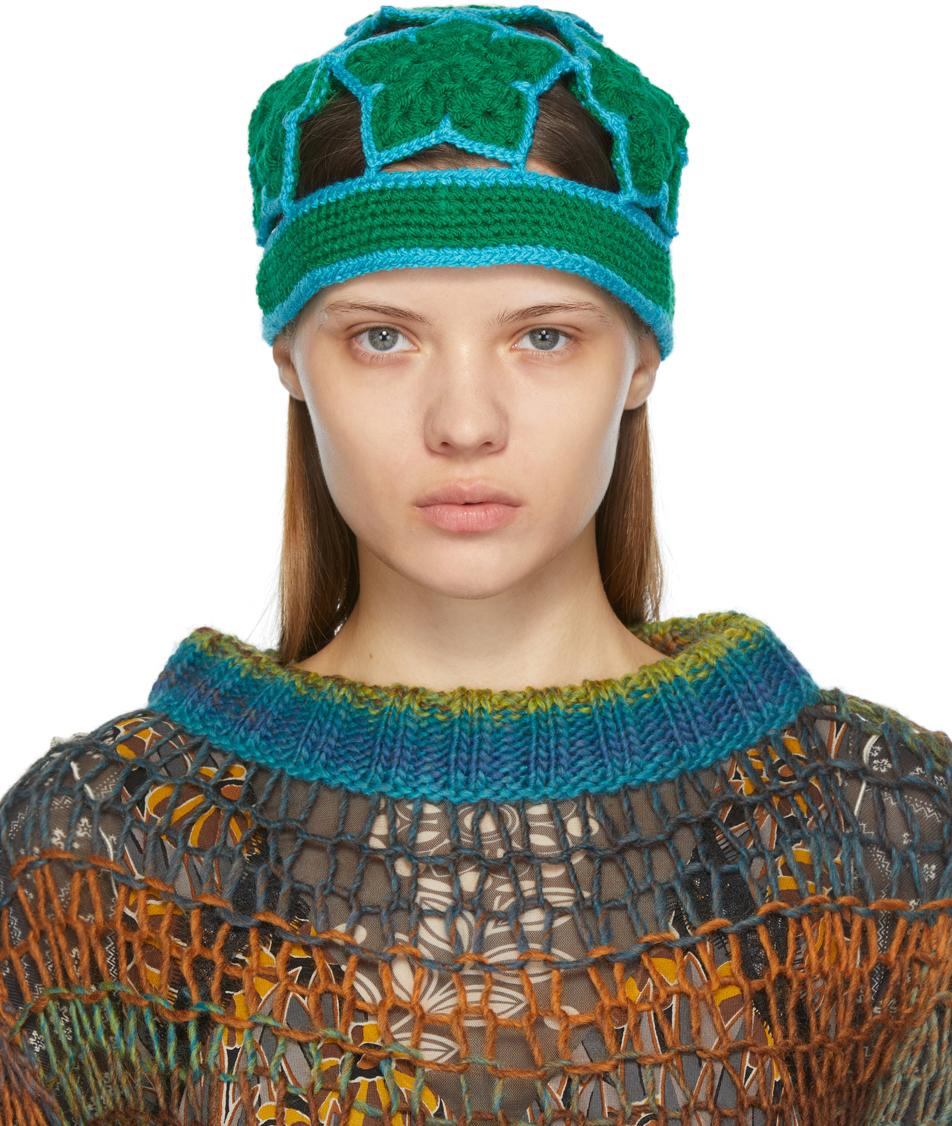 Green Crochet Star Beanie