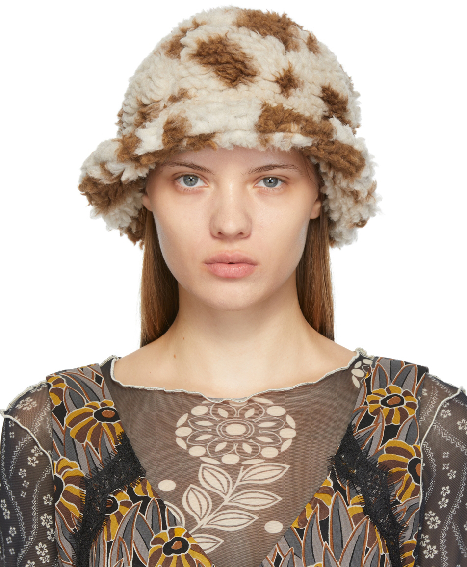 Brown & Off-White Faux-Shearling Bucket Hat