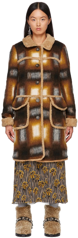 Orange & Brown Faux-Shearling Ombre Plaid Coat