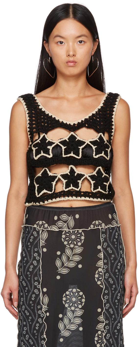 Black Knit Star Vest