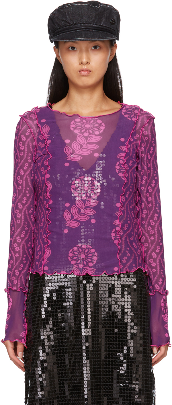 Purple Mesh Posies & Pop Flowers Long Sleeve T-Shirt
