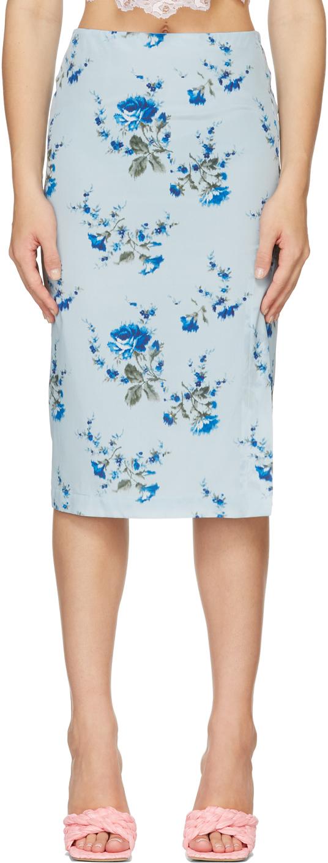 Blue Silk Crepe De Chine Rose Skirt