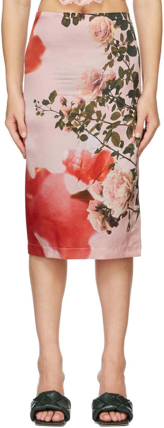 Pink Silk Floral Slit Skirt
