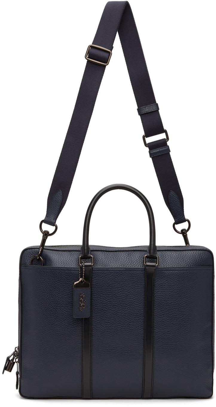 Navy Leather Metropolitan Slim Briefcase