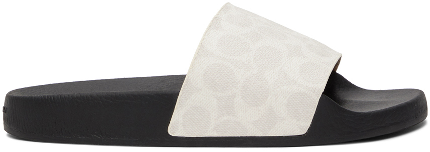 White & Grey Signature Slip-On Sandals
