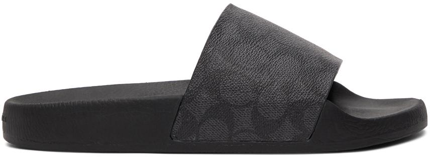Black Signature Slip-On Sandals
