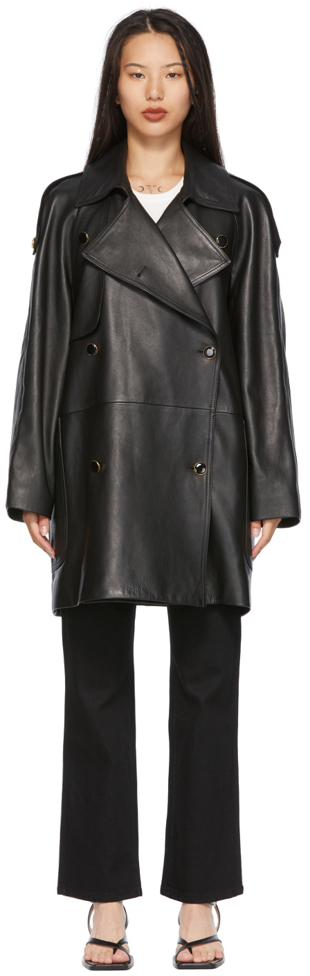 Black Leather 'The Eden' Trench Coat