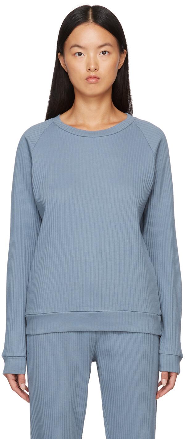 Blue Basic Rib Sweatshirt