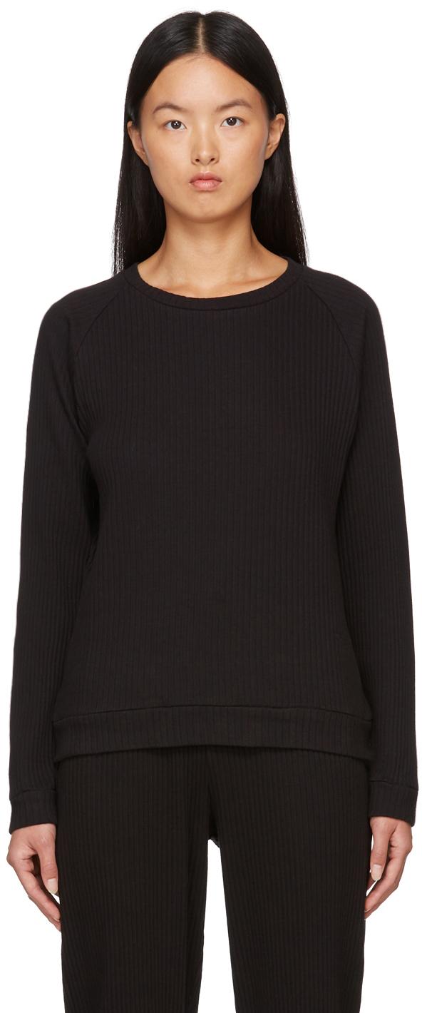 Black Basic Rib Sweatshirt