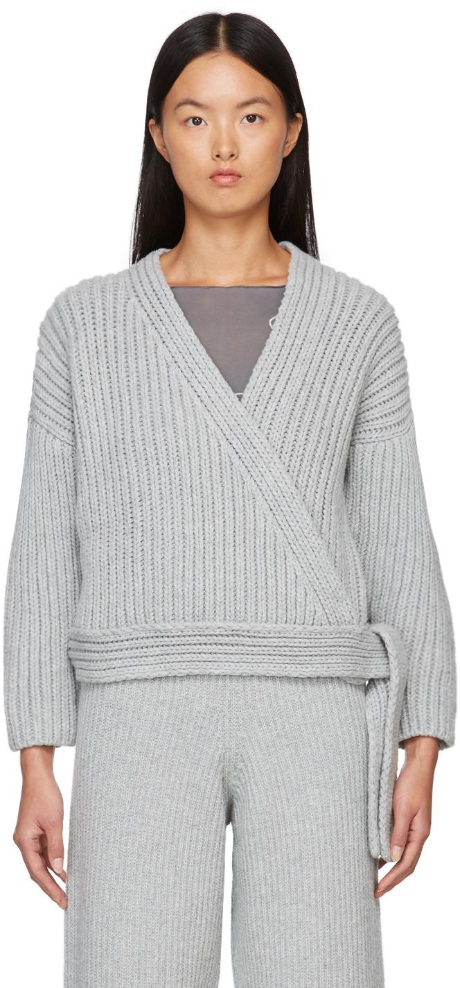 Grey Wool Mea Wrap Cardigan