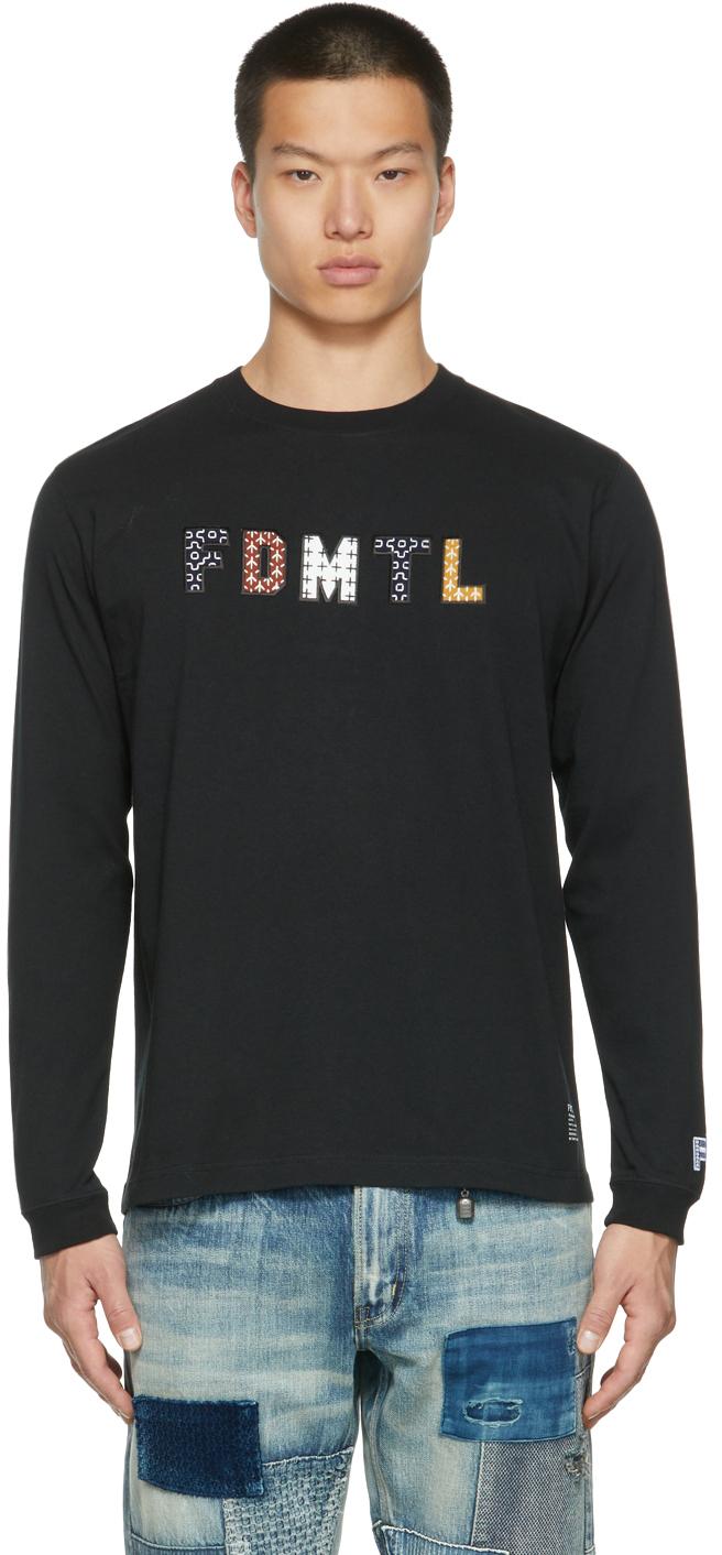 Black Sashiko Logo Long Sleeve T-Shirt