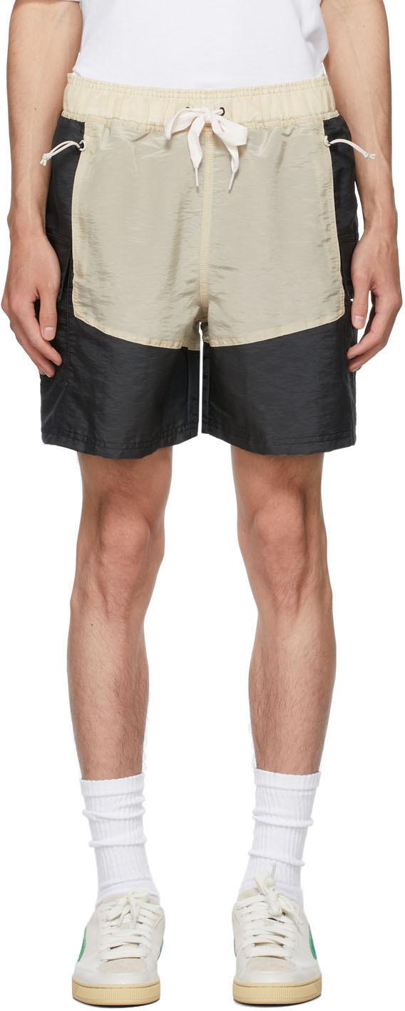 Rhude Black & Beige Puma X Rhuigi Edition Moiré Shorts In Black/oatme
