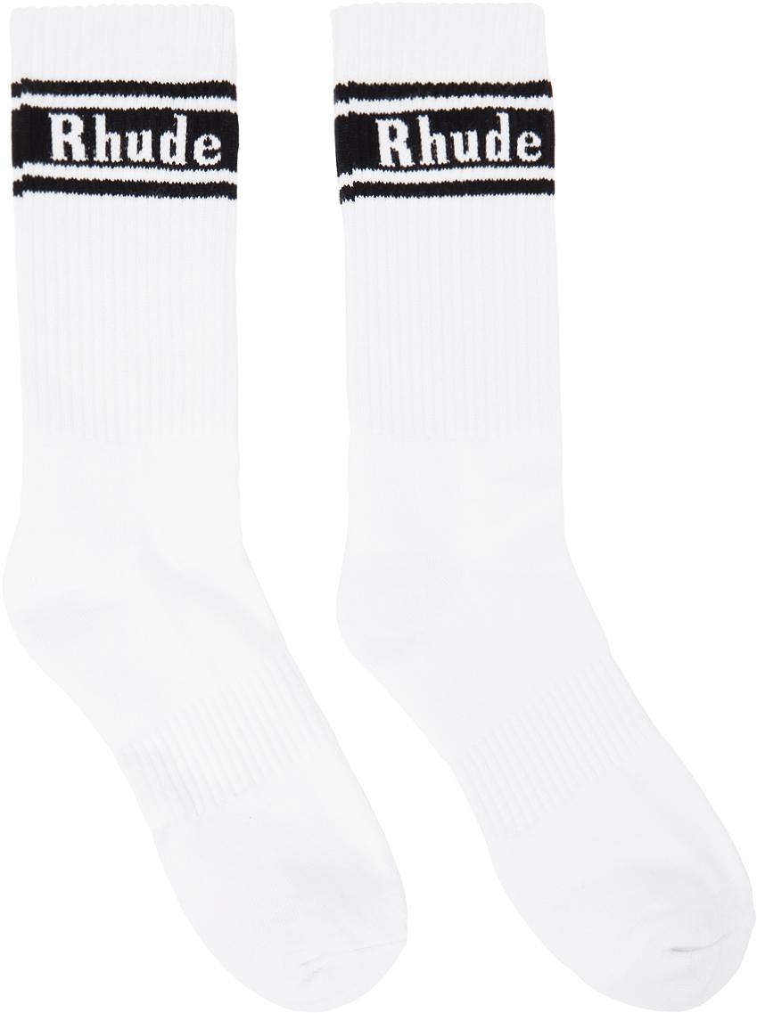 Rhude White & Black Stripe Logo Socks