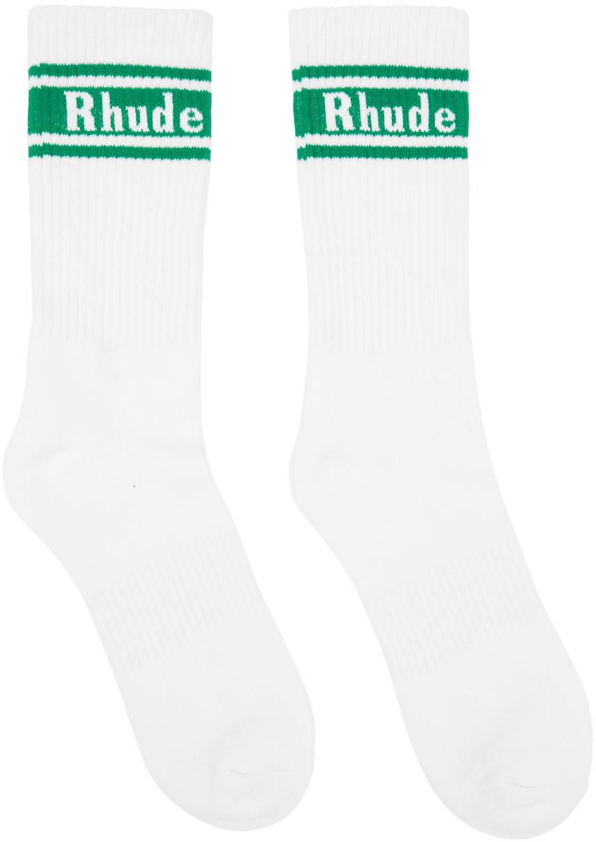 Rhude White & Green Stripe Logo Socks