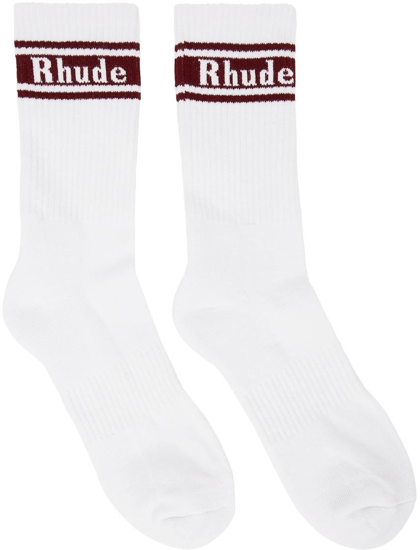 Rhude White & Red Stripe Logo Socks