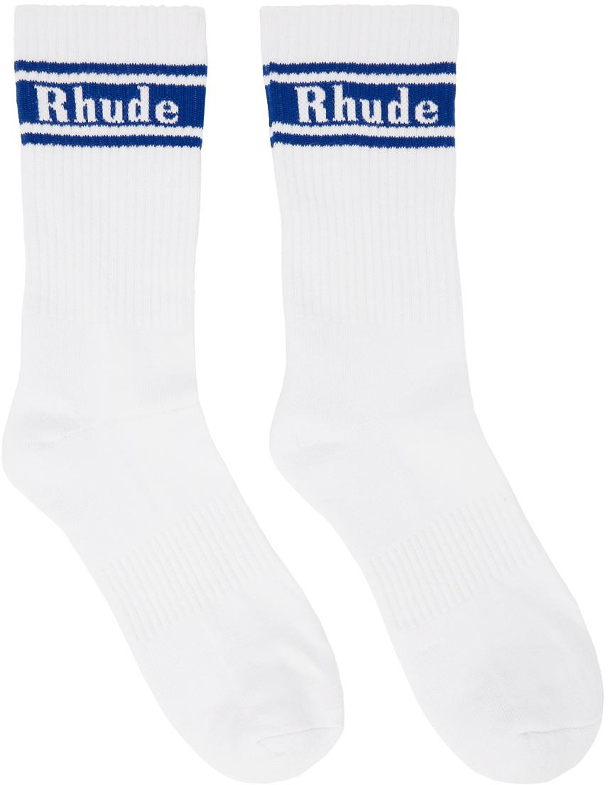 Rhude White & Blue Stripe Logo Socks