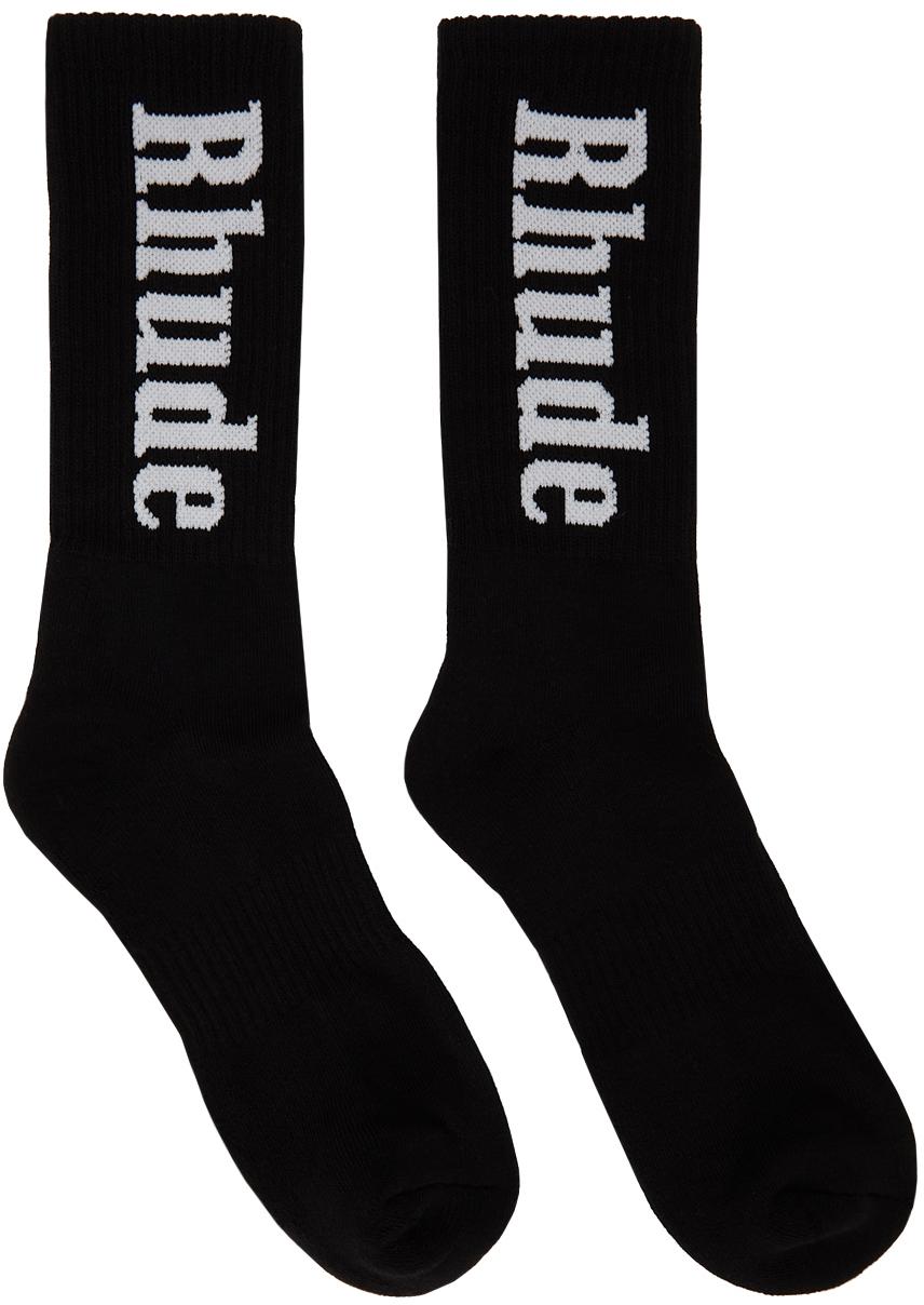 Rhude Black Vertical Logo Socks