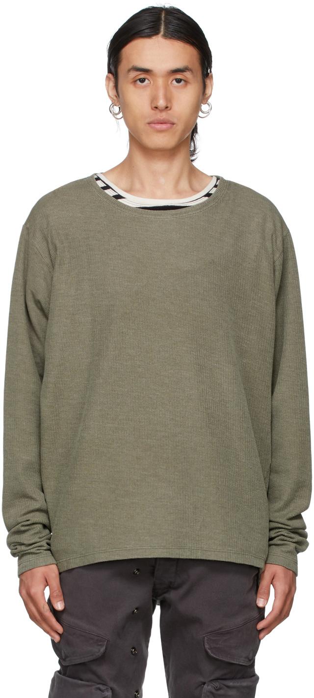 SSENSE Exclusive Khaki Flat Back Thermal Sweatshirt