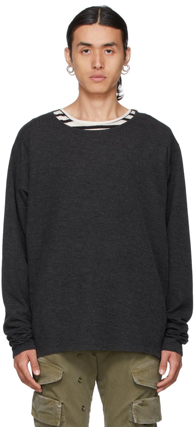 SSENSE Exclusive Black Flat Back Thermal Sweatshirt