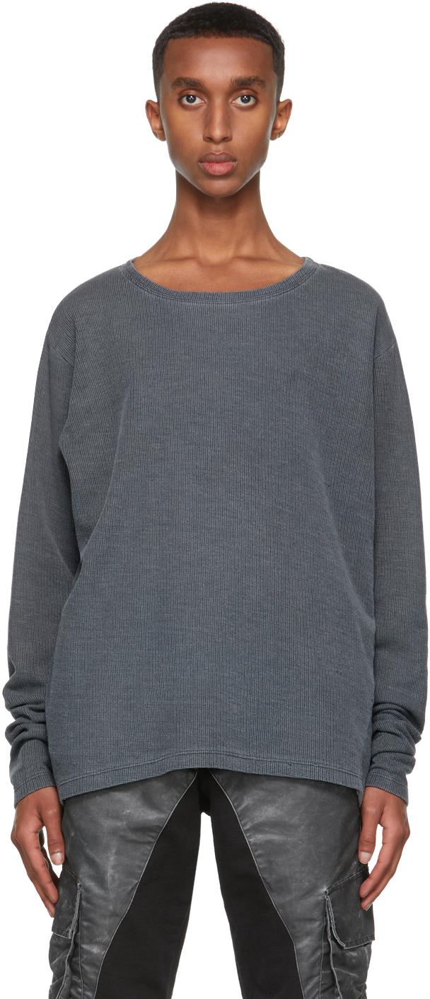 SSENSE Exclusive Grey Flat Back Thermal Sweatshirt