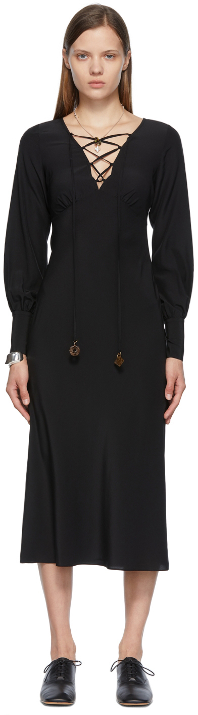 SSENSE Exclusive Black Silk Alix Dress