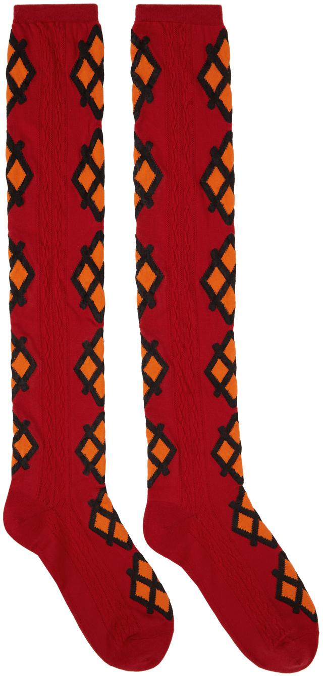 Red & Orange Jacquard Mica Socks