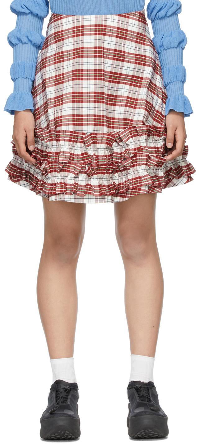 White & Red Tartan Ella Skirt