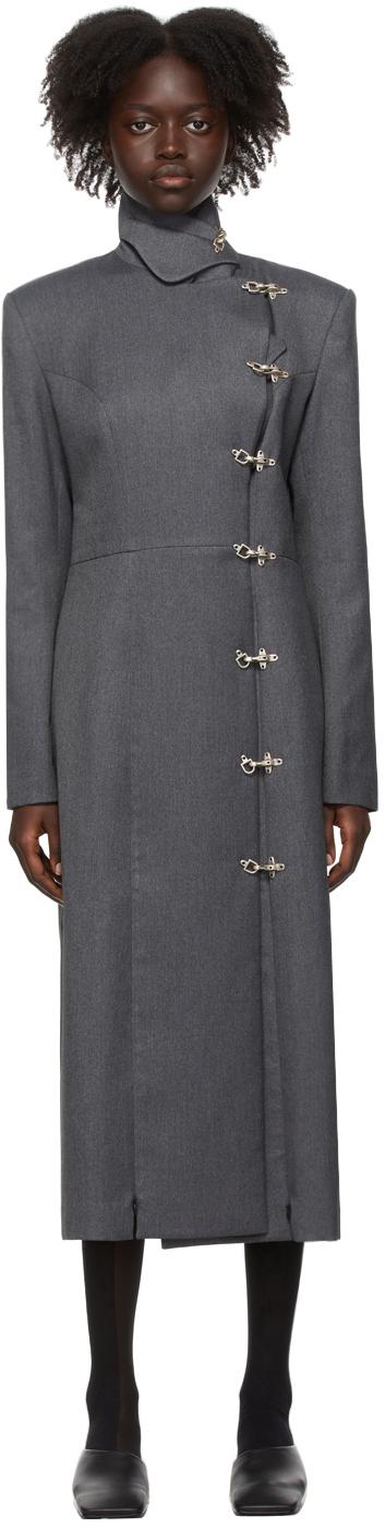 Grey Split Front Tailored Coat
