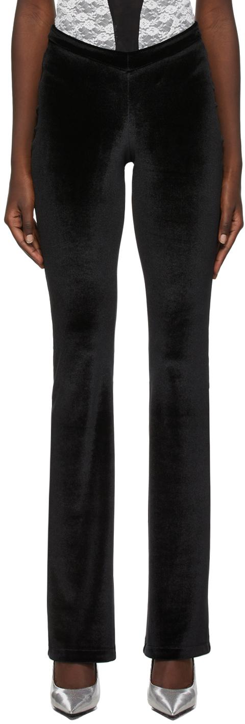 Black Velour Flared Lounge Pants