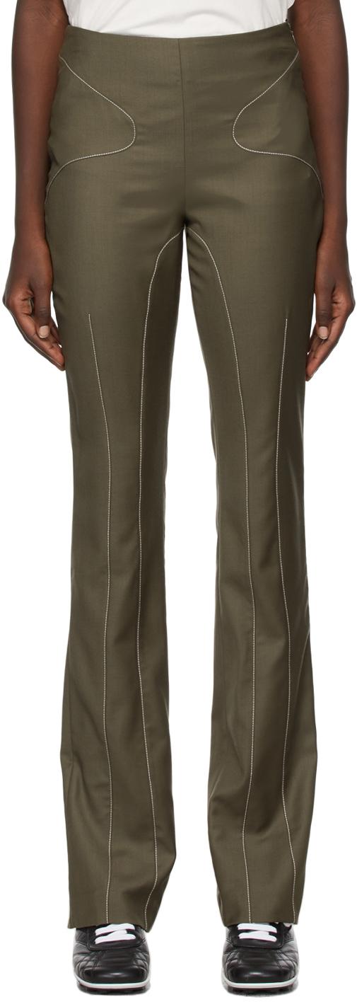 Khaki Skinny Flared Trousers