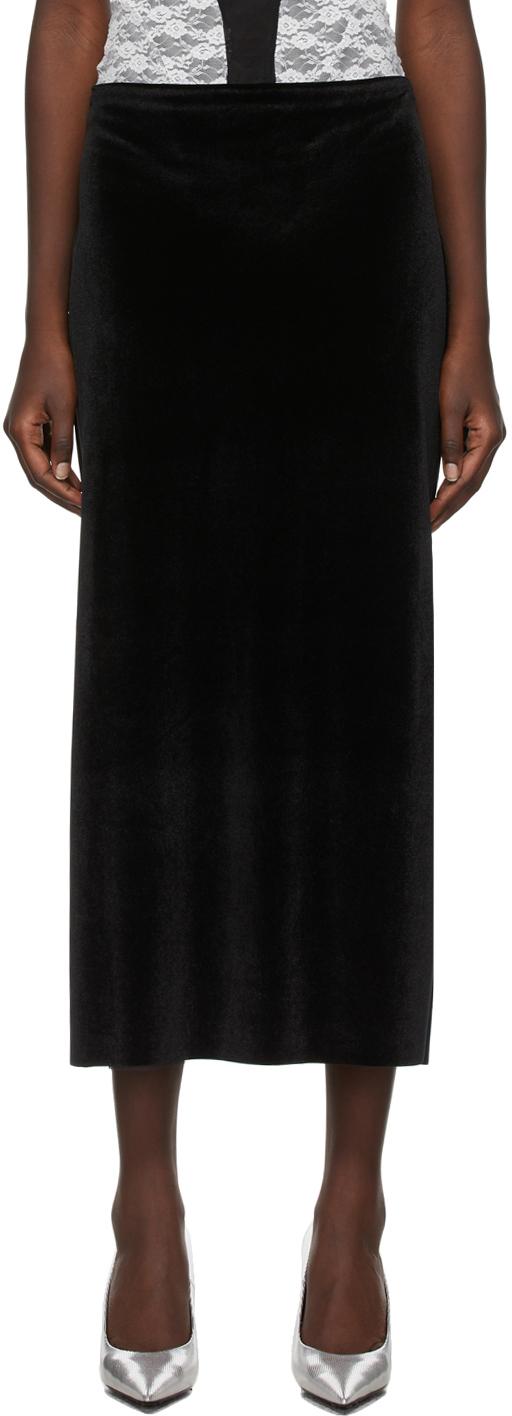 Kathryn Bowen Black Velour Long Skirt
