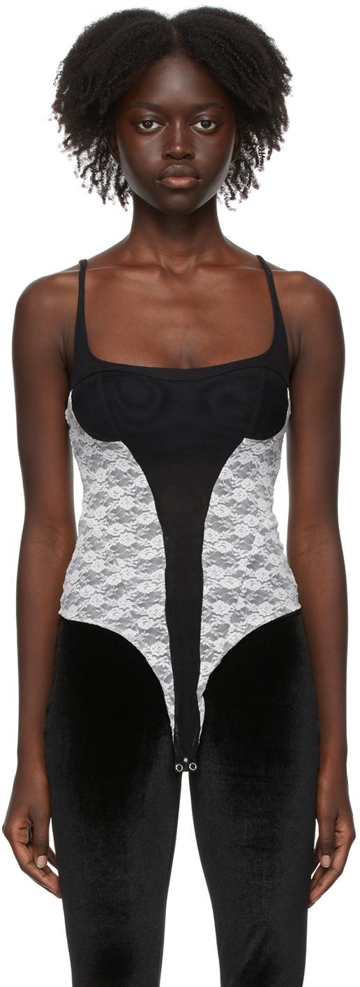 Black & White Lace Tank Bodysuit