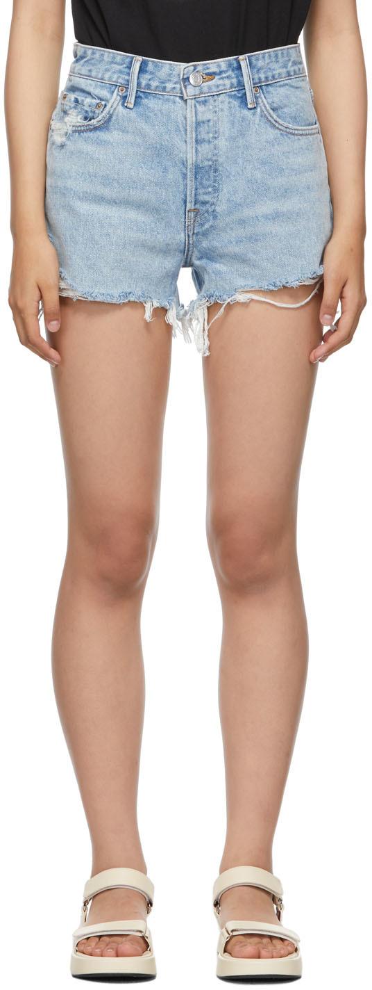 Blue High-Rise Helena Shorts