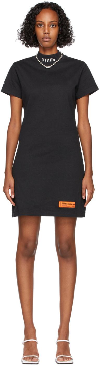 Black Logo Turtleneck Short Sleeve Dress