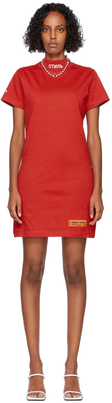 Red Logo Turtleneck Short Sleeve Dress