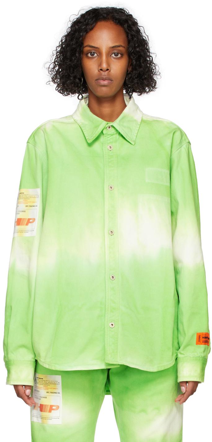 Green Tie-Dye Label Shirt
