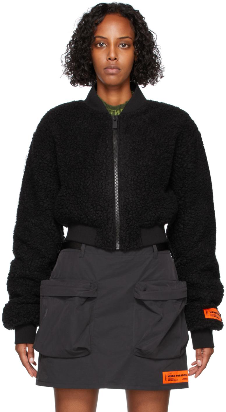 Black Polar Fleece Bomber Jacket