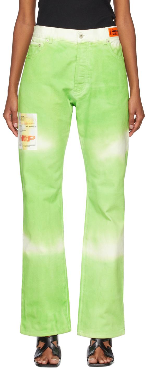 Green Tie-Dye Label Carpenter Trousers