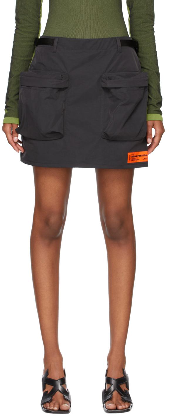 Black Nylon Pockets Skirt