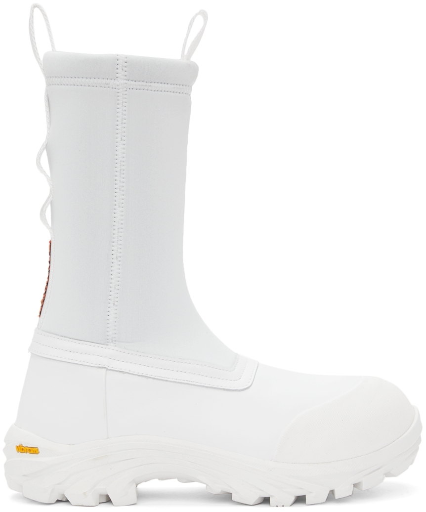 White Leather Security Sock Boots