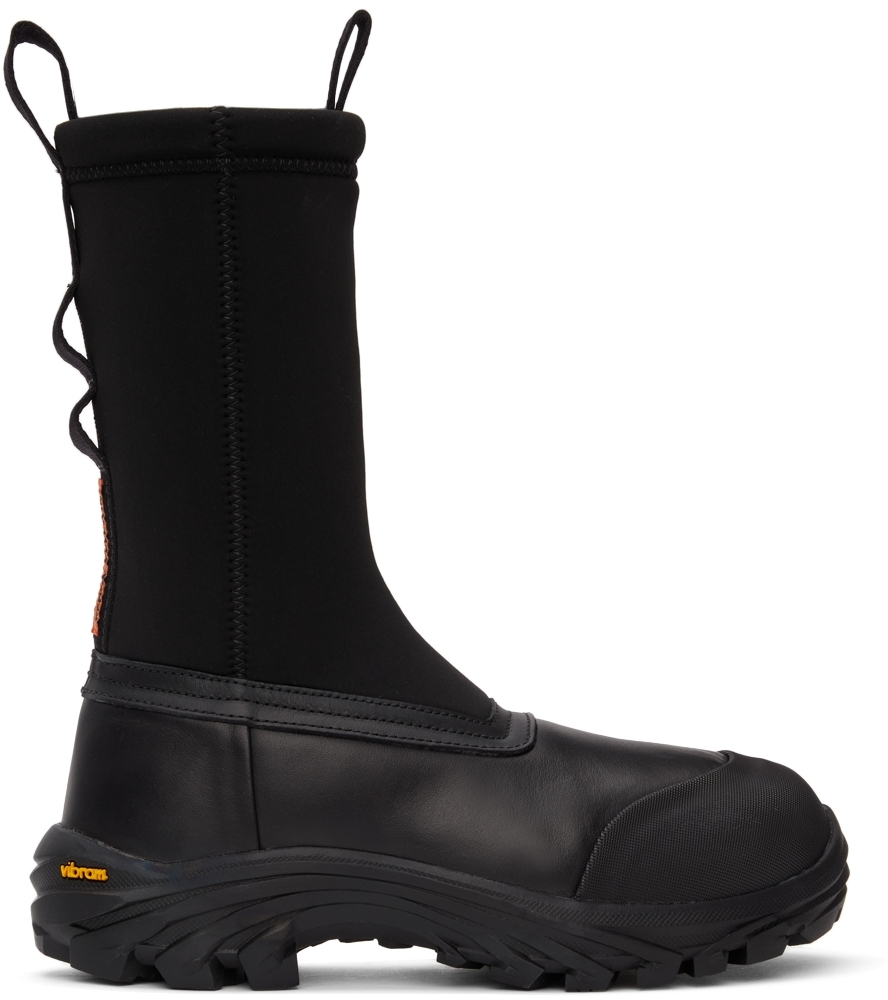 Black Leather Security Sock Boots