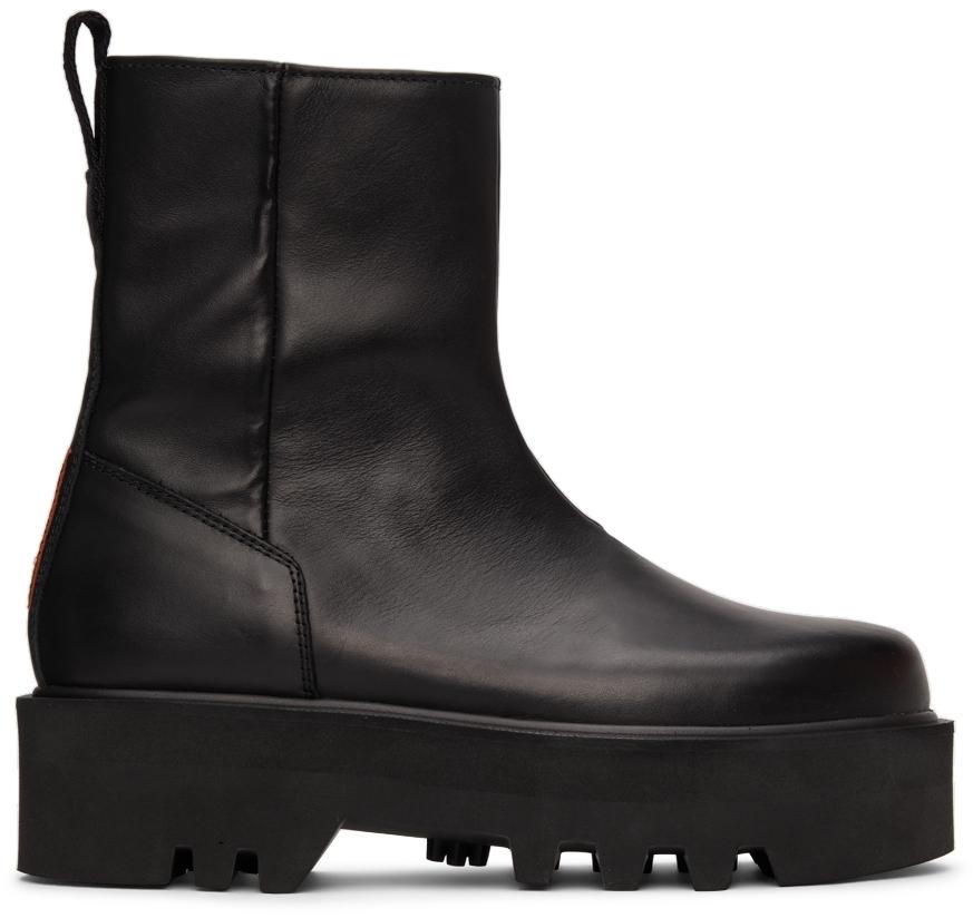 Black Leather Zip Boots