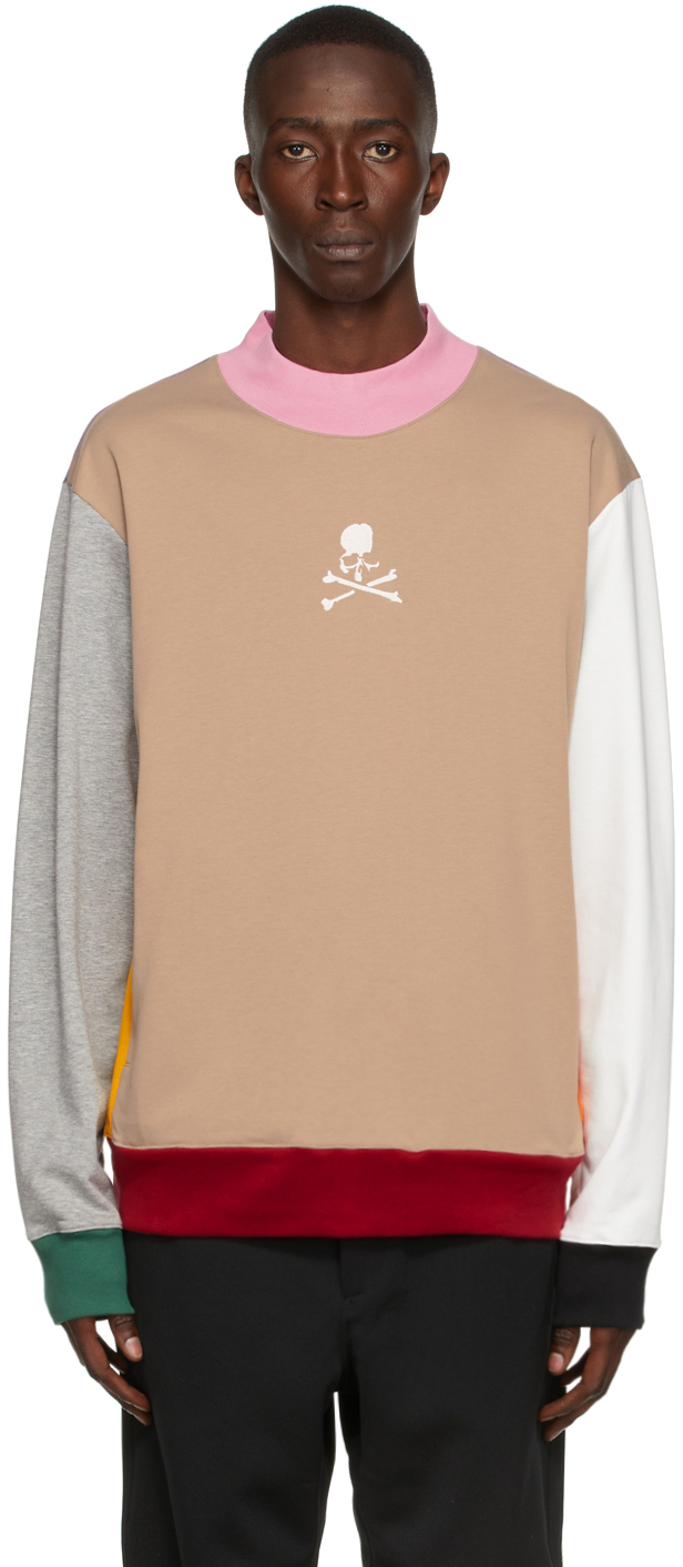 Multicolor Paneled Hi Neck Sweatshirt