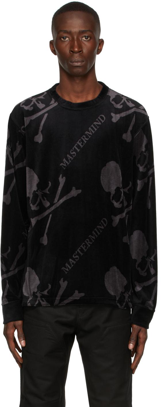 Black Velour All-Over Long Sleeve T-Shirt