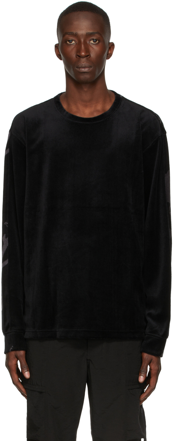Black Velour Switching All-Over Long Sleeve T-Shirt