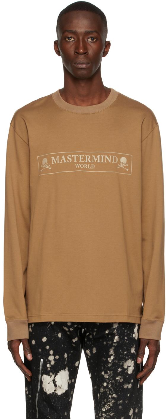Tan Box Logo Long Sleeve T-Shirt
